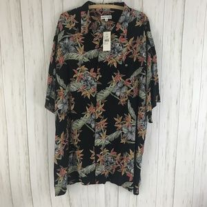 Pierre Cardin Mens Size 2X Black Hawaiian Shirt